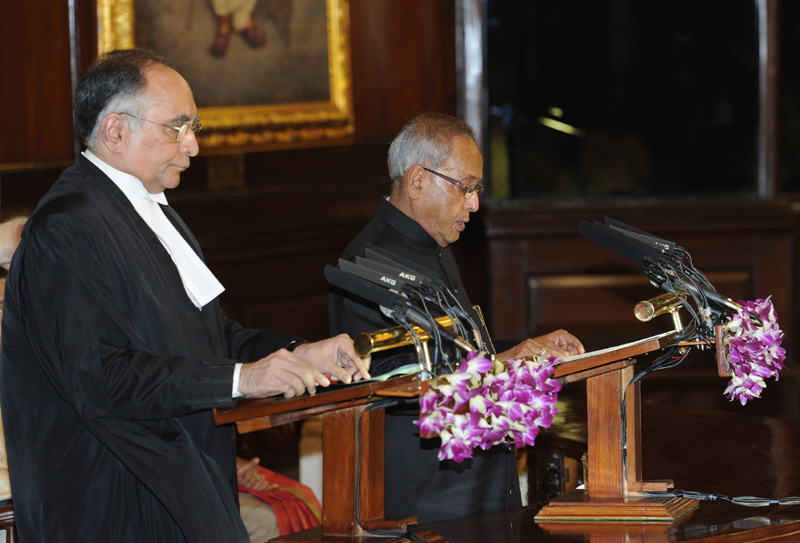 The Chief Justice of India, Shri Justice S.H. Kapadia administering the oath of…