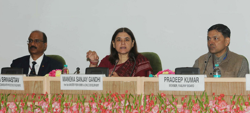 The Union Minister for Women and Child Development, Smt. Maneka Sanjay Gandhi..