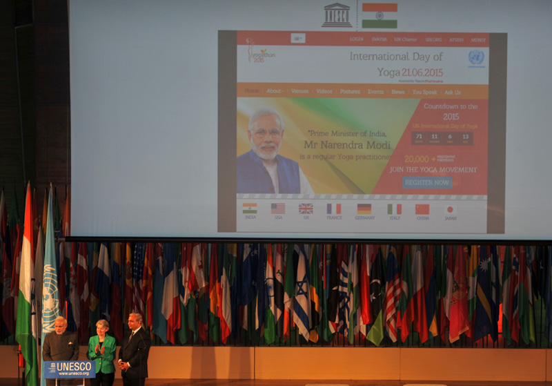 The Prime Minister, Shri Narendra Modi launching a website on Yoga, at UNESCO, in Paris