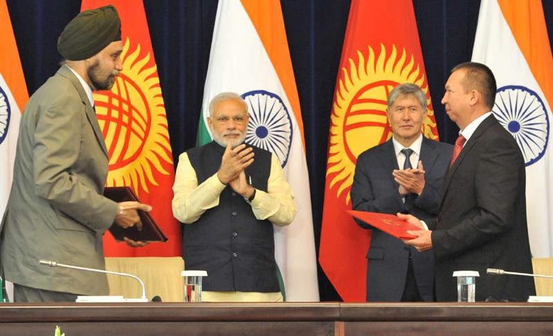 The Prime Minister, Shri Narendra Modi and the President of Kyrgyz Republic, …