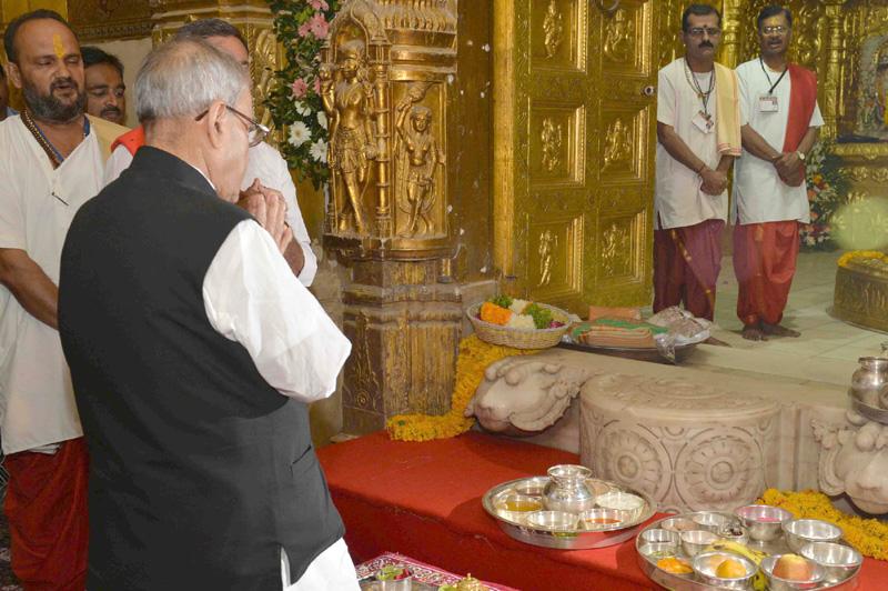 The President Shri Pranab Mukherjee Visiting The Somnath Temple In