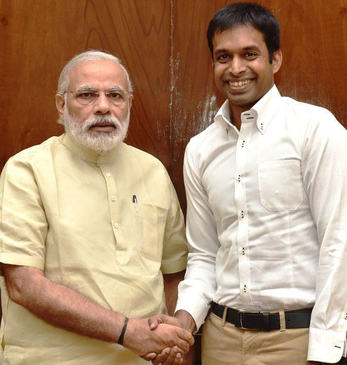 The National Coach, Indian Badminton Team, Shri Pullela Gopichand calls on the Prime Minister, Shri Narendra Modi, in New Delhi