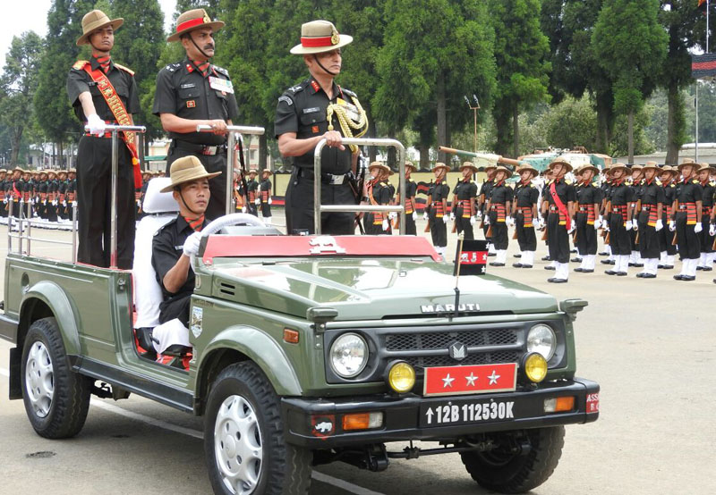 The Deputy Chief of Army Staff Lt. Gen. Subrata Saha reviewing the attestation parade..