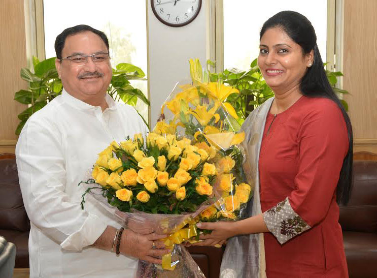 The Union Minister for Health & Family Welfare, Shri J.P. Nadda greeting the new ..