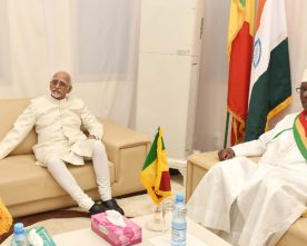 The Vice President, Shri M. Hamid Ansari with the Speaker of Mali National Assembly, Mr. Issaka Sidibé, at the Mali National Assembly, in Bamako, Mali