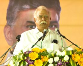 The Union Minister for Civil Aviation, Shri Ashok Gajapathi Raju Pusapati addressing the gathering at the foundation stone laying ceremony of the Indian Institute of Petroleum and Energy, at Vangali village, in Sabbavaram Mandal of Visakhapatnam district