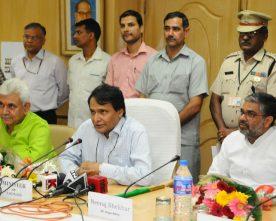 The Union Minister for Railways, Shri Suresh Prabhakar Prabhu addressing at..