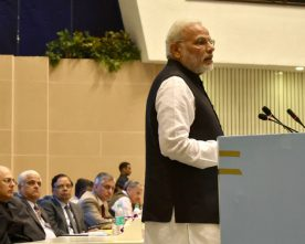 The Prime Minister, Shri Narendra Modi addressing at the valedictory session..