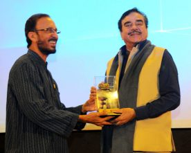 Actor Shatrugan Sinha being felicitated at the 'In Conversation Session', during..