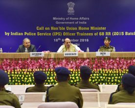 The Union Home Minister, Shri Rajnath Singh interacting with the Indian Police..