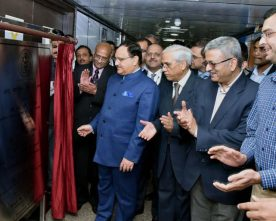 The Union Minister for Health & Family Welfare, Shri J.P. Nadda inaugurating the first advanced cardiac Dual Source Dual Energy CT Scanner, during the 44th Convocation of AIIMS, in New Delhi