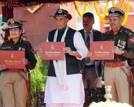 The Union Home Minister Shri Rajnath Singh releasing a booklet titled..