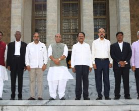The parliamentary delegation led by the Union Home Minister, Shri Rajnath Singh, at the Jose Marti Revolution Square, in Havana