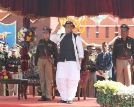 The Union Home Minister, Shri Rajnath Singh taking the salute at the ..