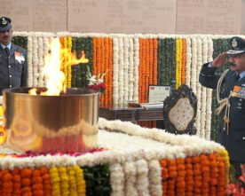 Air Chief Marshal Arup Raha outgoing Chief of the Air Staff paying homage at ..