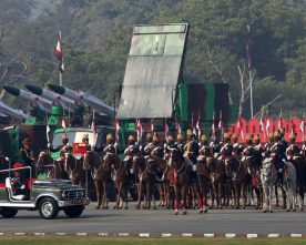The Chief of Army Staff, General Bipin Rawat reviewing the Army Day Parade, in New Delhi