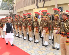 The Union Home Minister, Shri Rajnath Singh inspecting the parade at ..