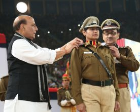 The Union Home Minister, Shri Rajnath Singh pinning the rank on a..