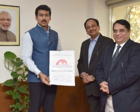 The Minister of State for Information & Broadcasting, Col. Rajyavardhan Singh Rathore..