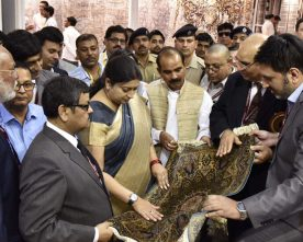 The Union Minister for Textiles, Smt. Smriti Irani visiting after inaugurating the 33rd Edition of India..