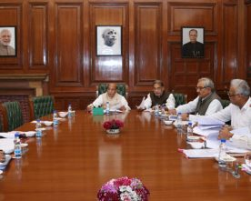 The Union Home Minister, Shri Rajnath Singh chairing a high level committee..