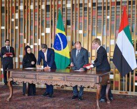 BRAZIL,UAE SIGNS THREE ACCORDS IN AN EFFORT TO ENHANCE TIES