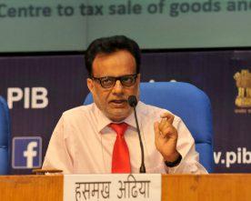 The Secretary, Revenue, Dr. Hasmukh Adhia addressing at a GST Conclave, in New Delhi