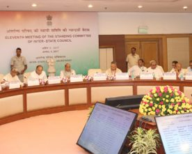 The Union Home Minister, Shri Rajnath Singh chairing the 11th Standing Committee meeting..