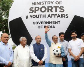 Vijay Goel, Biren Singh Launch a Big Football Balloon to Popularise Football