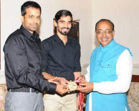 Badminton Player Srikanth Kidambi along with Pullela Gopichand meets Vijay Goel