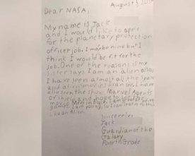 9 YEAR OLD ASPIRANT JOTS DOWN TO NASA TO CONSIDER HIM FOR A JOB TO WORK WITH ASTRONAUTS