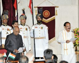 PRESIDENT ADMINISTERS OATH OF OFFICE TO VICE PRESIDENT SH. M.VENKAIAH NAIDU