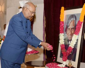 PRESIDENT PAYS FLORAL TRIBUTE TO DR.APJ ABDUL KALAM FORMER PRESIDENT ON HIS BIRTH ANNIVERSARY