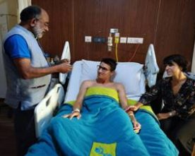 K.J. Apphons Visits Injured Swiss Tourist Couple Quentin Jeremy Clerc and Marie Droz at Apollo Hospital