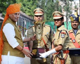 RAJNATH SINGH PRESENTS TROPHY AT THE PASSING OUT PARADE OF IPS PROBATIONERS