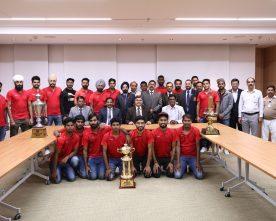 Punjab National Bank Managing Director felicitates PNB Hockey Players