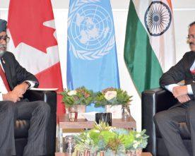 Dr. Subhash Ramrao Bhamre meet Canadian Defence Minister Harjit Singh Sajjan