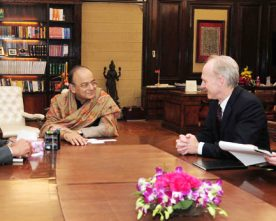 The President & CEO, Pension Plan Investment Board, Canada, Mr. Mark G.A. Machin meet Arun Jaitley